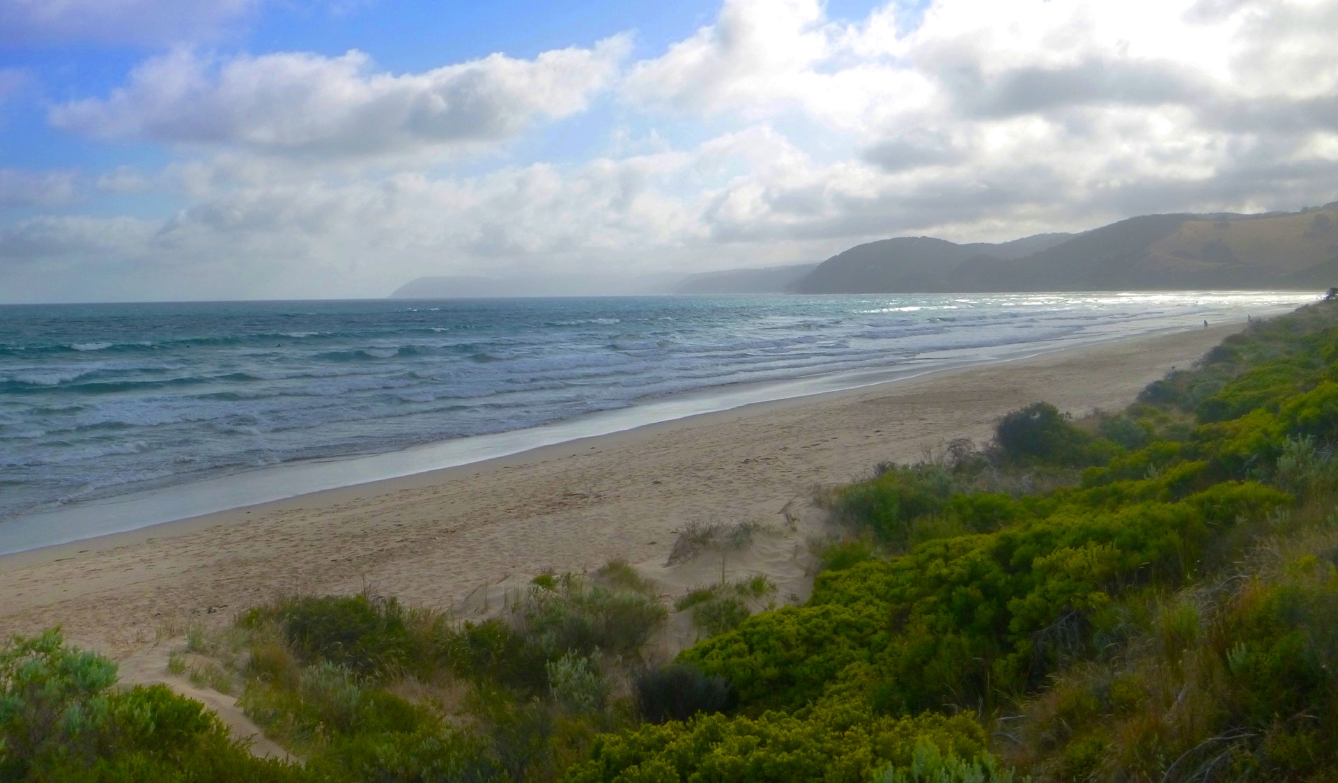 A view of the beach from the lookout on Moggs Creek Circuit Track.