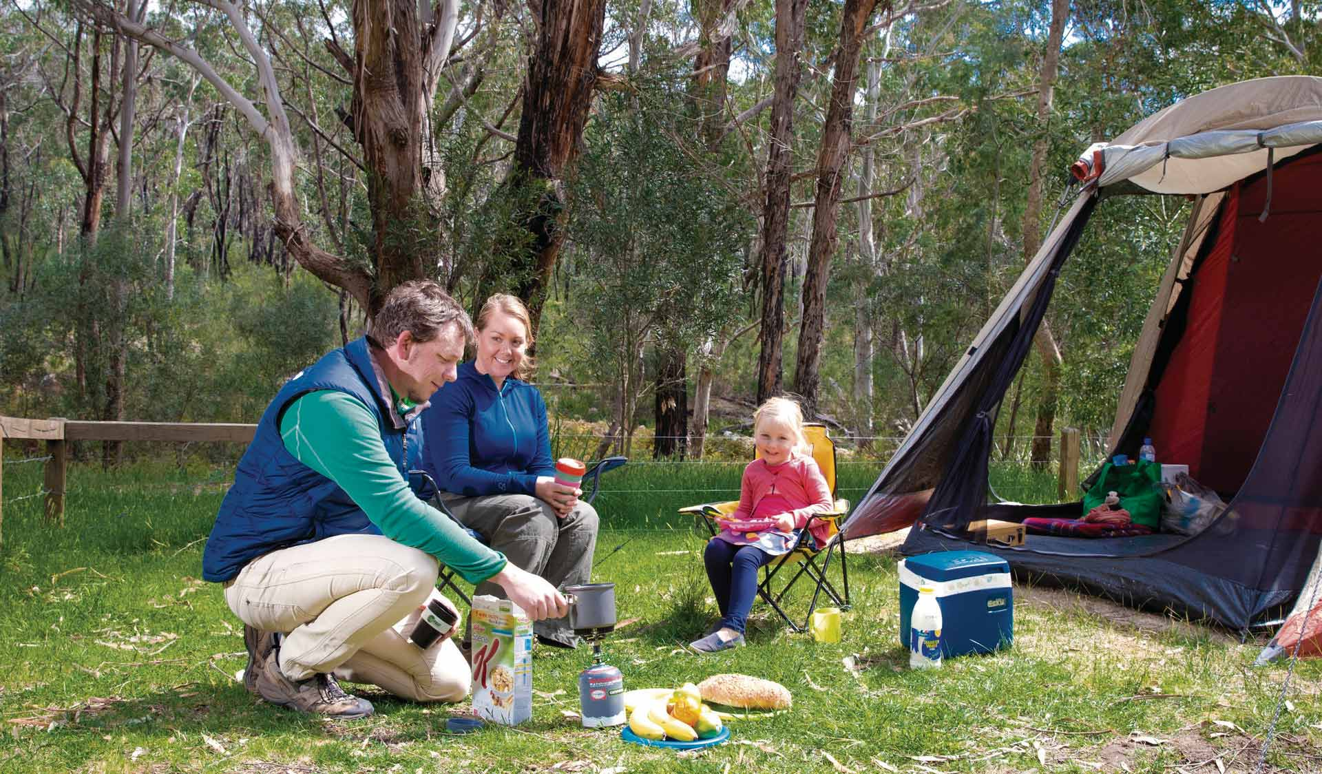 A family camps at Borough Huts in the Grampians National Park