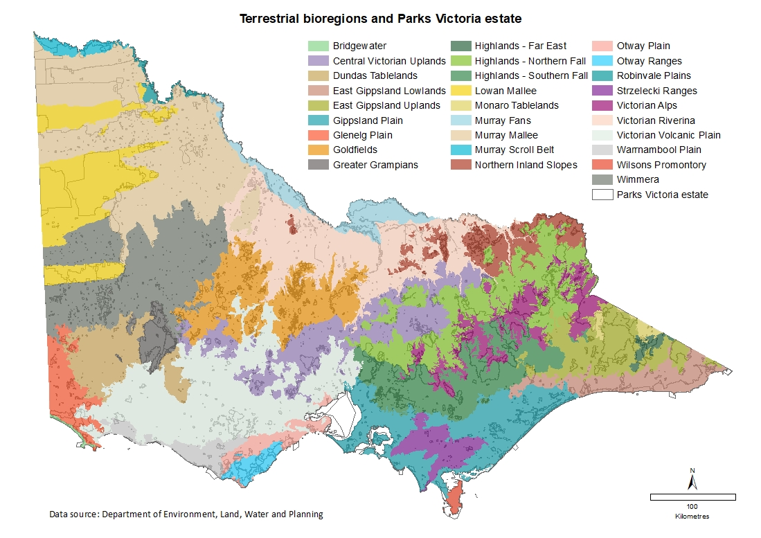 Terrestrial bioregions and Parks Victoria estate