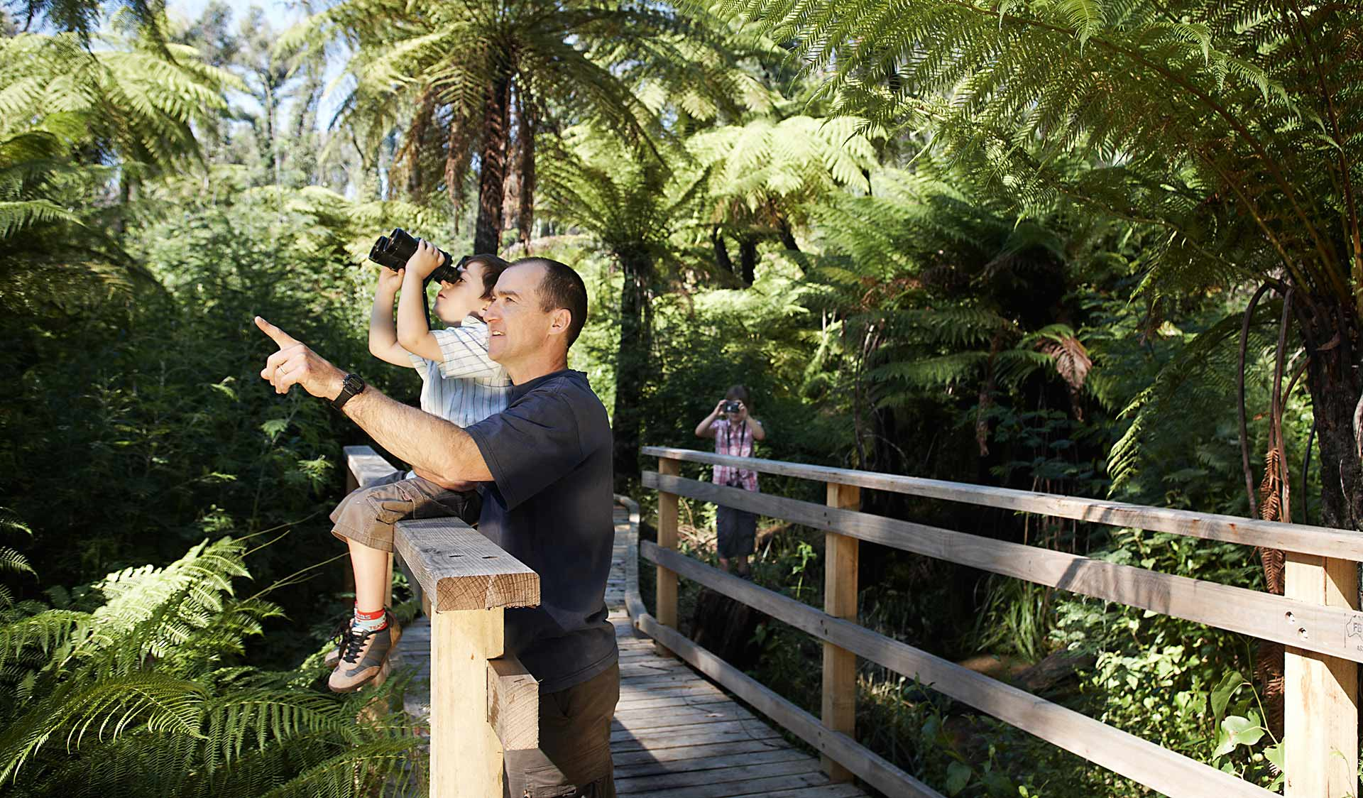 Father and son bird watching on boardwalk
