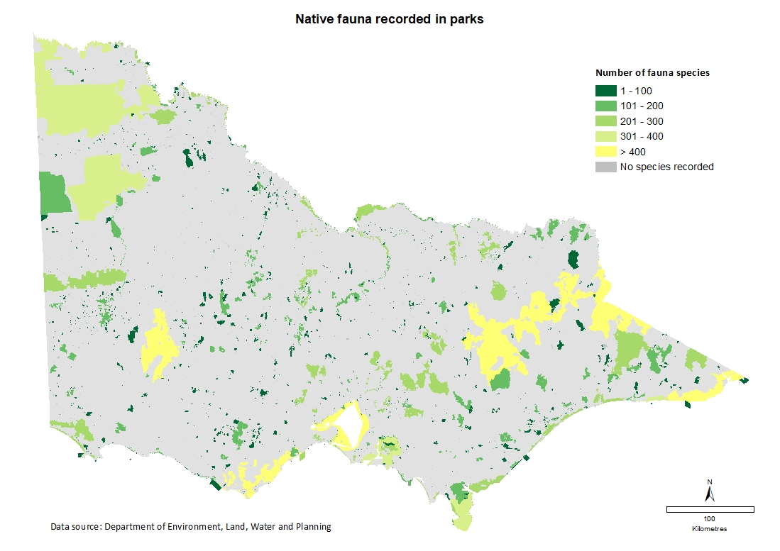 native fauna recorded in parks