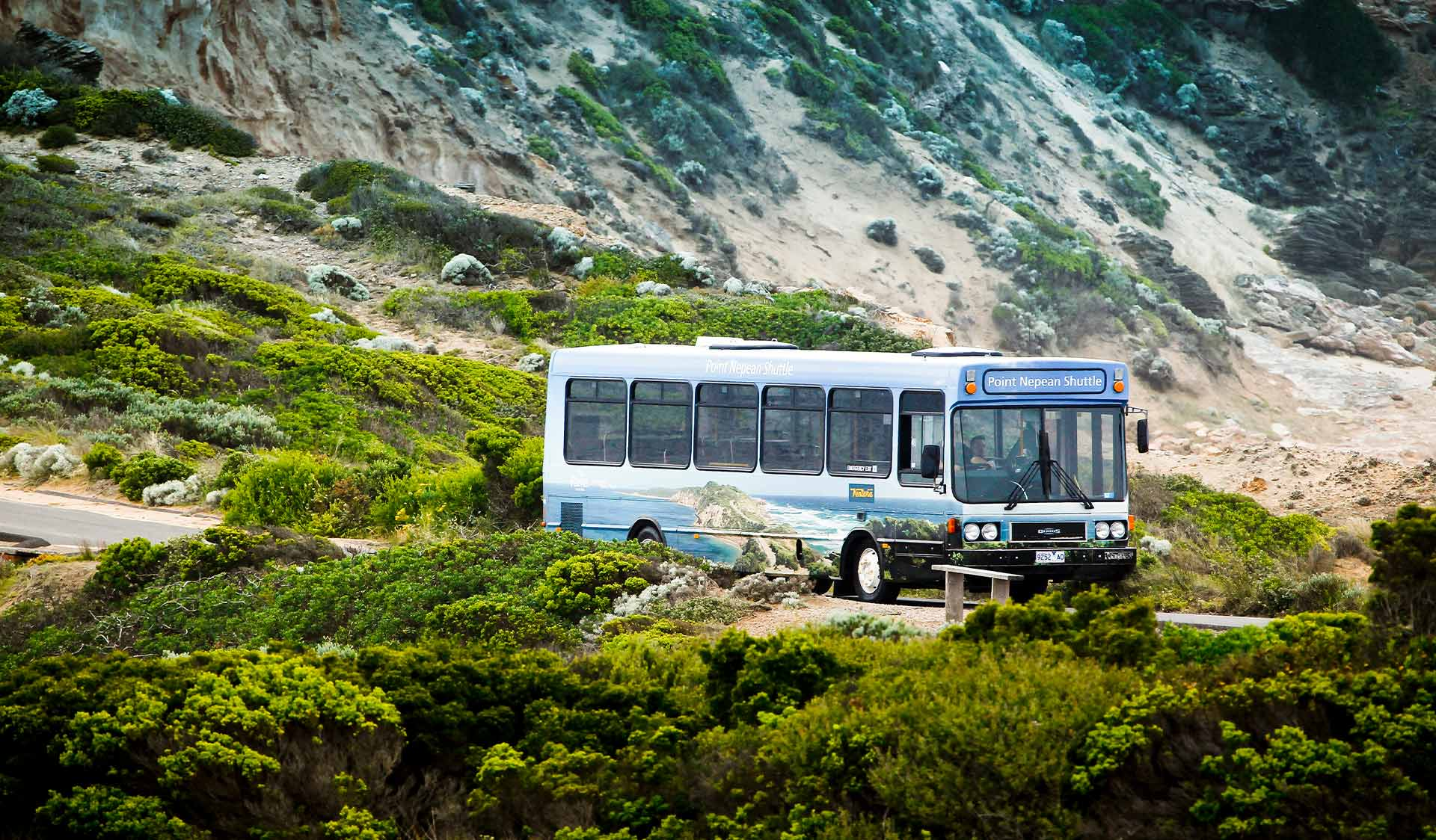 Wide shot of a bus on a road surrounded by nature