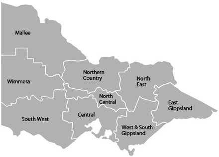 Victorian regional forecast districts map