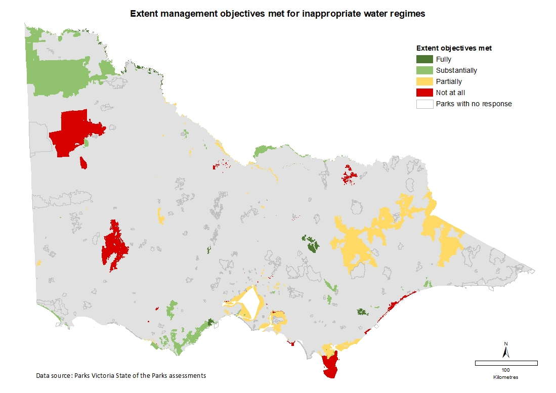 extent management objectives met for inappropriate water regimes