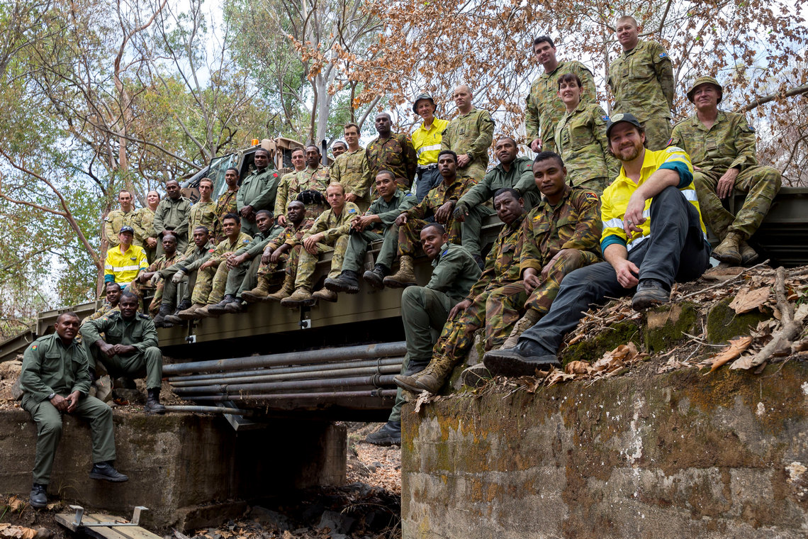 Defence forces on Buchan Caves Reserve temporary bridge CREDIT: ADF