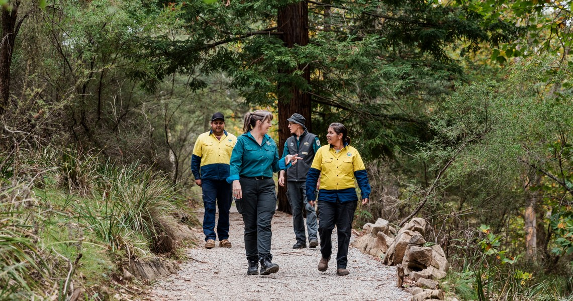 Buchan Caves Reserve joint management - Parks Victoria and GLaWAC rangers in park