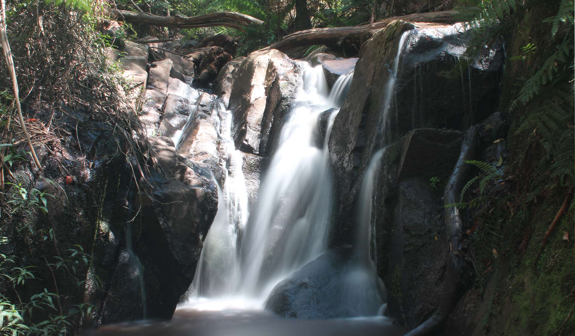 Water cascades over Olinda Falls
