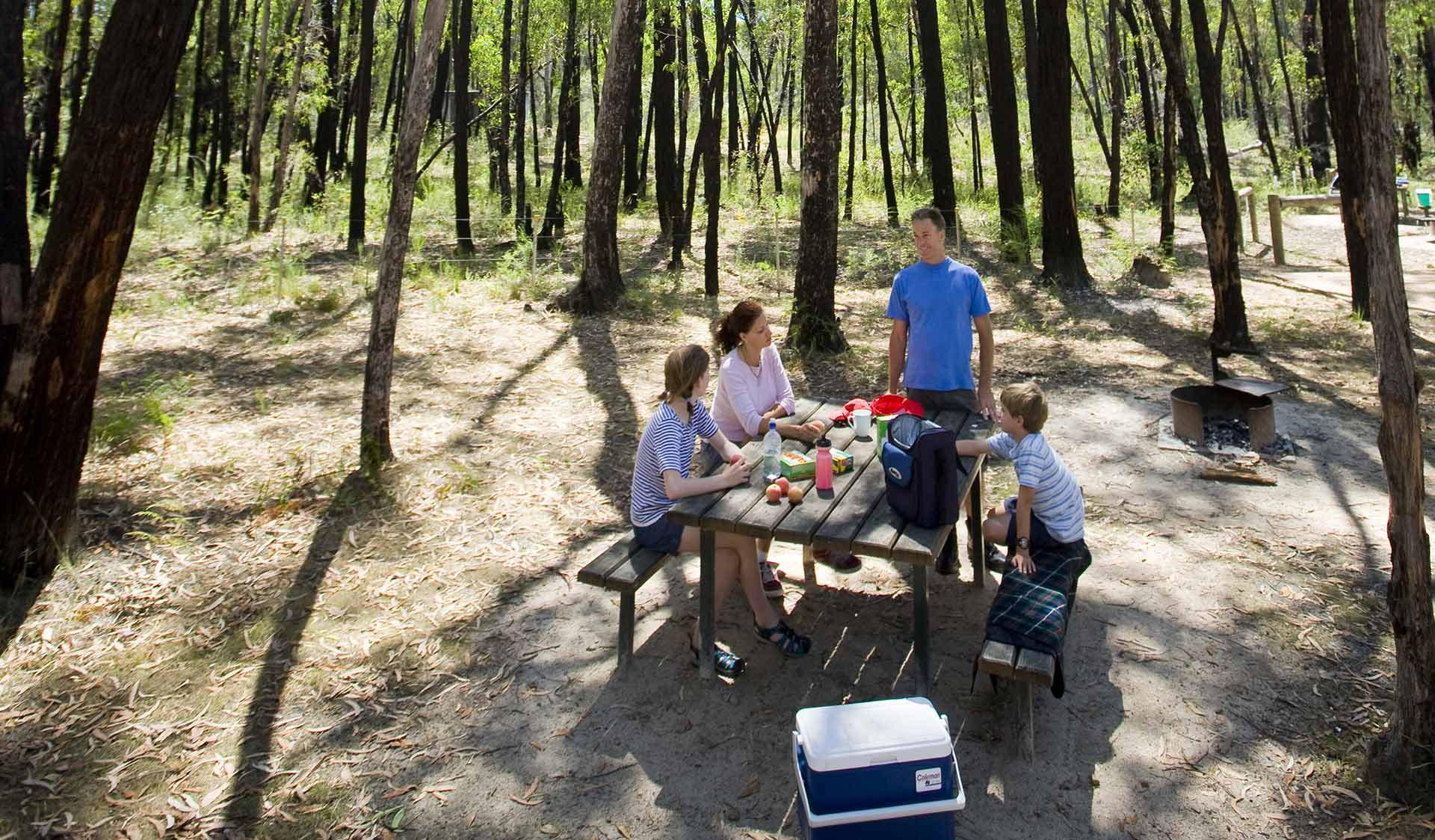 A family of four enjoy afternoon tea at a picnic table at Smiths Mill Campground.
