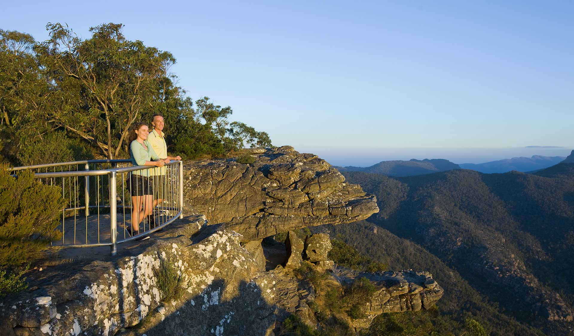 A couple take in the views from Reeds Lookout