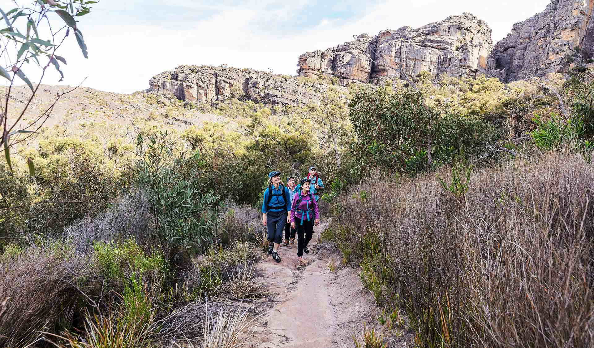 A group of four walk through the Northern Grampians near Mt Staypleton.