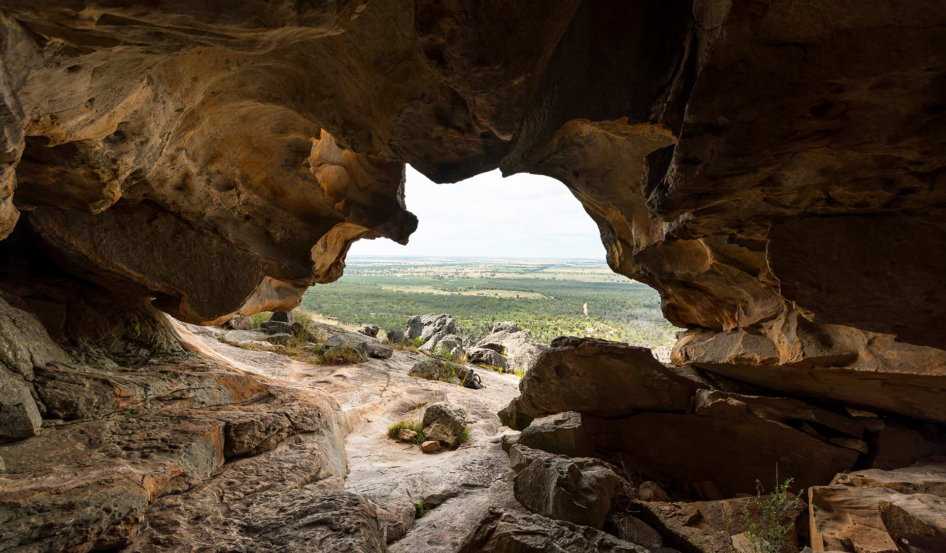 The view of the Wimmera plains through Hollow Mountain in the Grampians National Park.