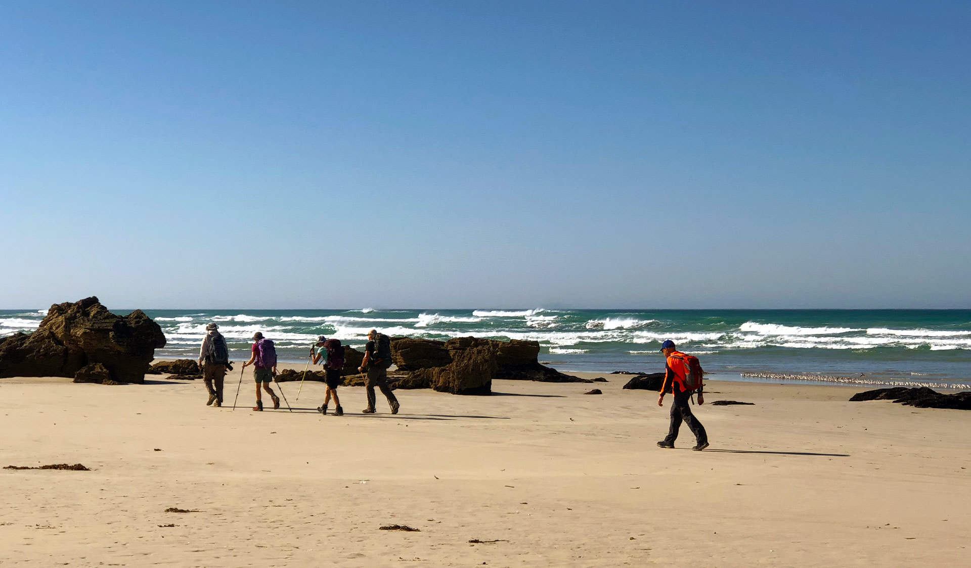 A group of four hikers walk along the beach at Discovery Bay as part of the Great South West Walk