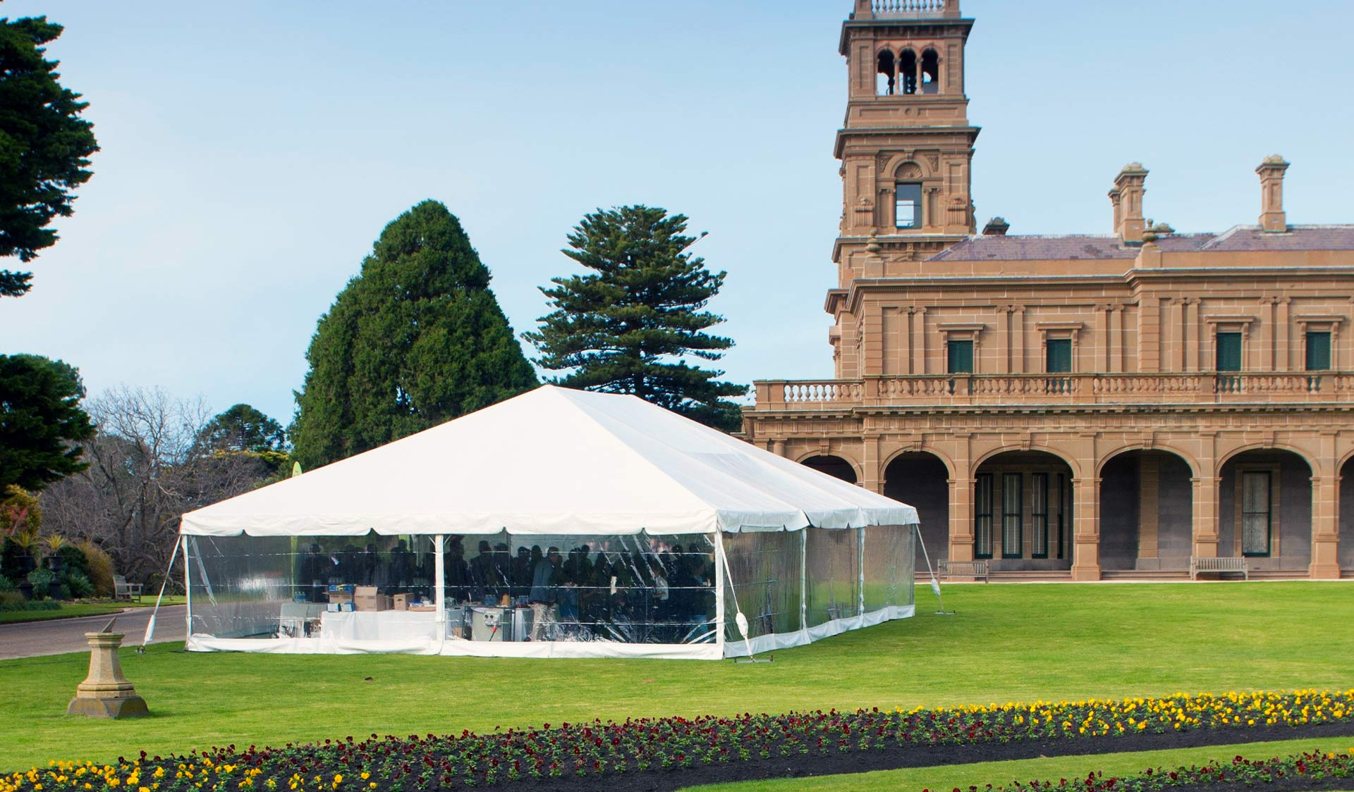 A marquee on the lawns of Werribee Mansion.