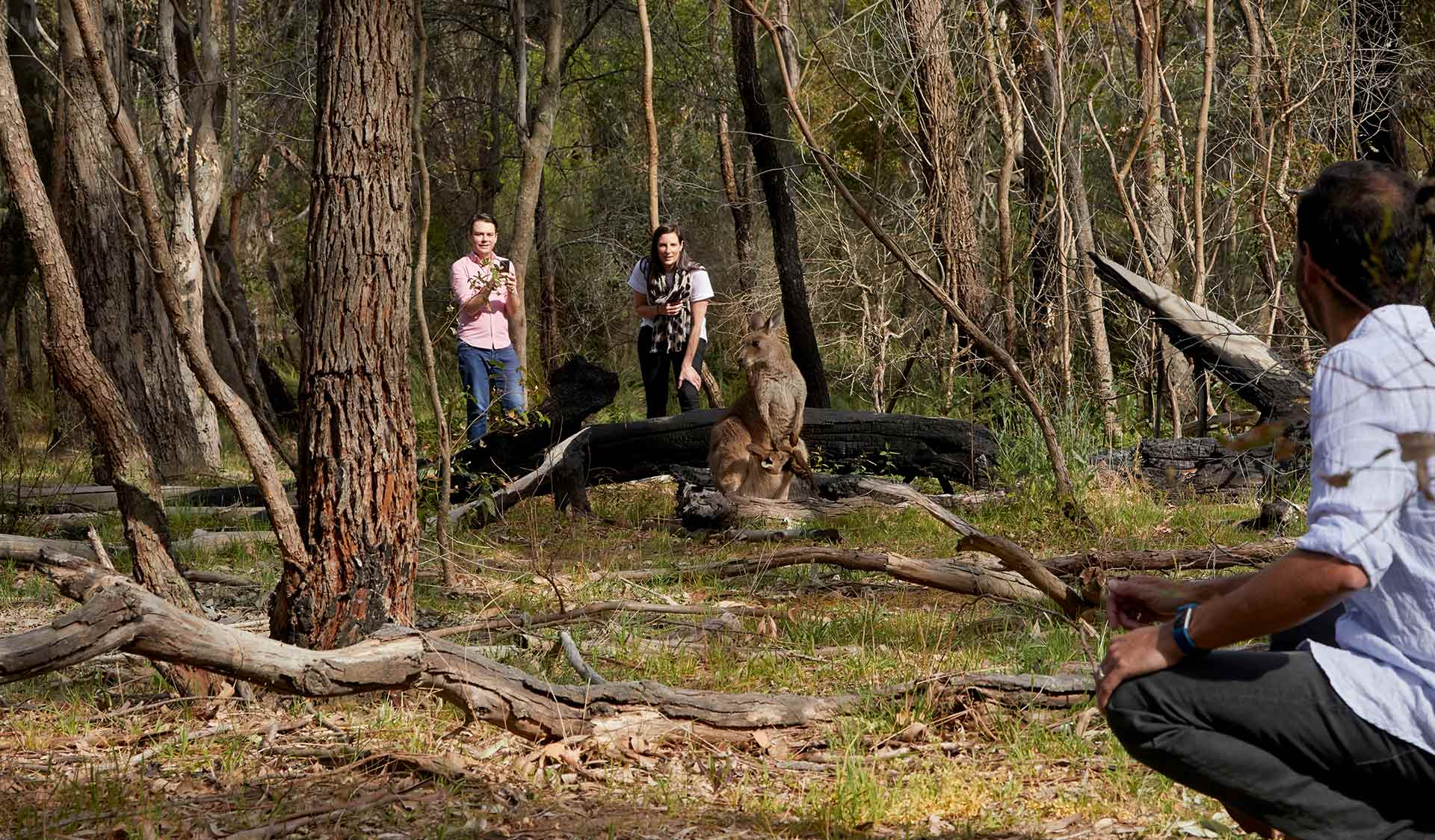 Three friends take a break from their walk to take a photo of a Kangaroo who is equally watching them.